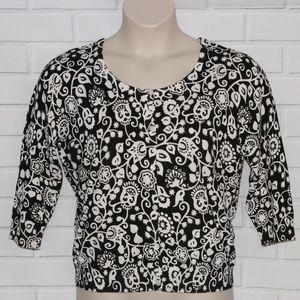 Joseph A. Sz XL 3/4 Sleeve Floral Cardigan Sweater